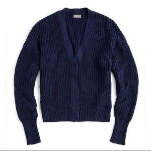 J. Crew Point Sur Ribber Cardigan Sweater Navy L